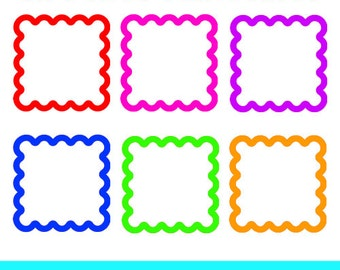 Frames Clipart, Square Frames Clipart, Wavy Frames Clipart