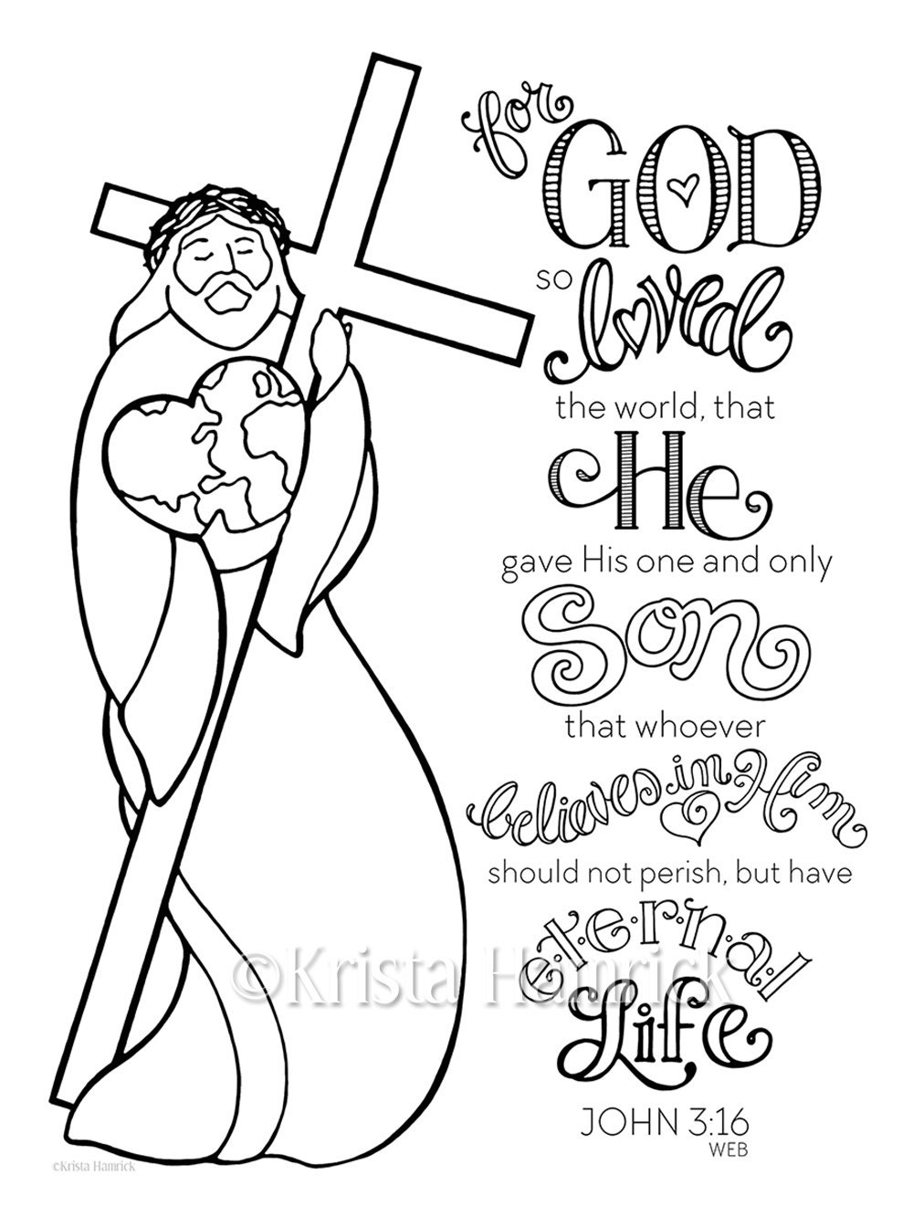 God So Loved The World Coloring Page 85X11 Bible