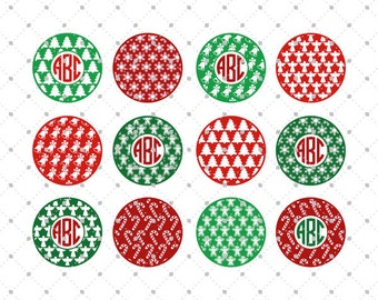 Christmas Pattern Ornaments SVG Cut Files, Christmas Monogram Frame SVG Cut Files for Cricut, Silhouette and other Vinyl Cutters, svg files