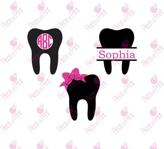 Dentist Tooth Svg Cut Files Tooth Monogram Frames By