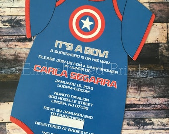 Captain America Themed Die-Cut Onsie Invitation