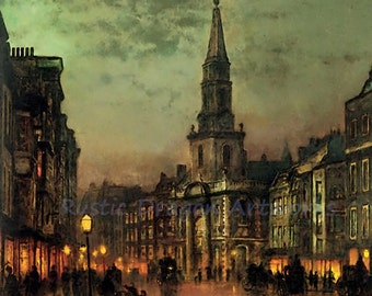 "John Grimshaw ""Blackman Street"" Landscape 1885 Reproduction Digital Print Vintage Print Wall Hanging"