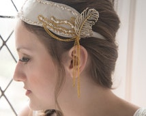 Deco Darling: Vintage Leather Beaded Bridal Flapper Headpiece with Vintage feather brooch and Chain detail. Alternative Bridal Headpiece