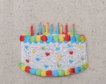Birthday Cake with Candles - PINK or WHITE - Confetti Shimmery - Embroidered Patch - Iron on Applique - 694007