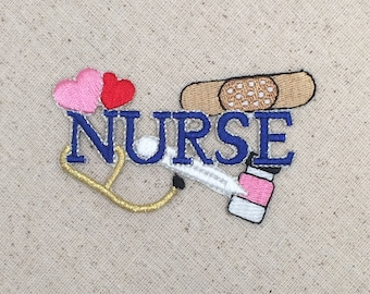 Blue Nurse - Hearts, Medical Stethoscope, Bandaid, Medicine - Iron On Applique - Embroidered Patch - WA015