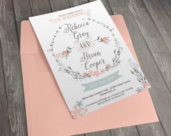 Rustic Wedding Invitation, Digital, Floral invitation,Printable Invitation, Wedding, wedding printable, invitation, floral, hand drawn