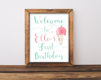 Ice Cream Birthday Welcome Sign Printable, Welcome to the Party, Girl, Here's the Scoop Bday Decor, Ice Cream Cone Social