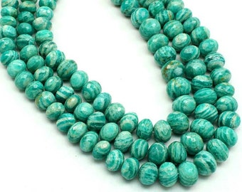 AMZONITE Faceted Rondell Beads Huge Size 6 to 10 mm Gorgeous High Quality Natural (sku2815)