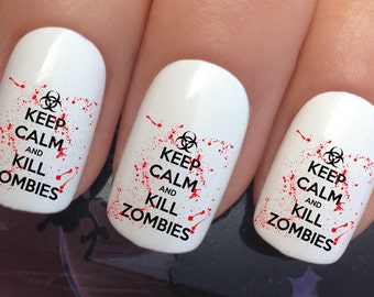 Halloween nail art set #664 x 12 keep calm zombies water transfer decals stickers manicure set