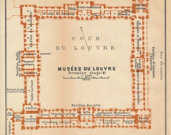 1913 Louvre Museum, Paris France Antique Map