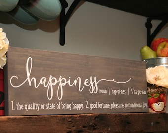5th Anniversary Gift For Her - Wood Sign - Happiness Sign - Happiness Definition - Wall Decor - Inspirational Home Decor - Farmhouse style