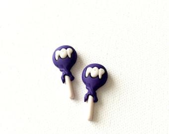 Tootsie Pop Stud Earrings, Purple Tootsie Pop Earrings, Chocolate Lollipop Earrings, Miniature Candy, Kawaii, Nostalgia, Halloween