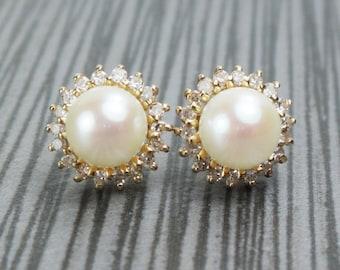 Vintage 14k Gold Cultured Pearl Earrings Vintage Pearl Diamond Halo Earrings Pearl Earrings Yellow Gold Earrings Post Back Studs Bridal