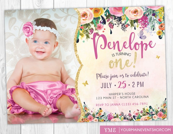 Whimsical Butterfly First Birthday Invitation • Watercolor Garden Floral 1st Birthday Invite • Glitter Girl Birthday Printable  • BS-G-02