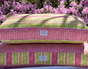 Pink and Green Big Dog Bed || Extra Large Stripes Personalized Pet Bed Custom Pillow Cover || Gift by Three Spoiled Dogs