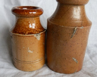 Two Antique English Rustic Salt Glaze Stoneware Bottles c1890