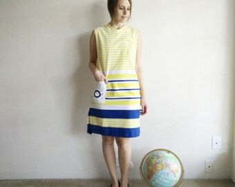 Vintage 1960s Nautical Striped Shift Dress/60s Dress/Small Medium