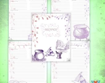 VOLUME I of II Recipe Page Set, Recipe Page Set, Recipes Pages, Cookbook Pages, Cook Book, Grimoire, Grimoire Set, Printable