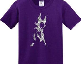 Kids Maleficent with Dragon Glitter Girls Short Sleeve T Shirt Top Disney Evil Queen Sleeping Beauty