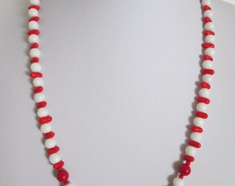 Red & White Czech Glass Bead Necklace