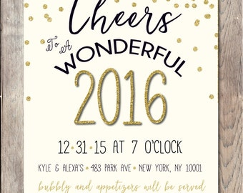 New Years Eve Party Invitation, New Years Party Invitation, 2016, Happy New Year, Printable New Years Party Invitation, Gold NYE Invitation