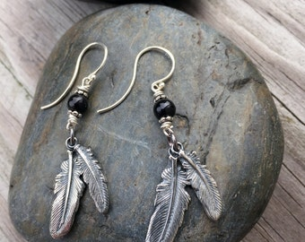 Antiqued Silver Feather Earrings, Double Feather Earrings, Silver and Onyx Feather Earrings, Fine Silver Feather Earrings, Boho Feather