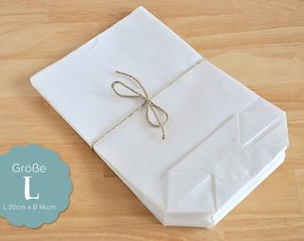 L - 14 x 22 cm white 20 paper bags