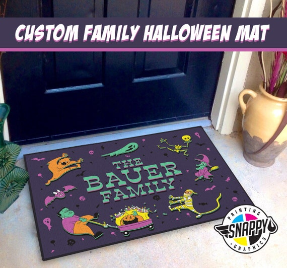 Custom Family Halloween Welcome Mat
