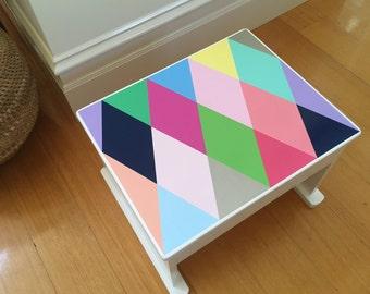 Big Step Stool - Footstool, Stepstool, Wooden Footstool, Timber Step, Children's Footstool, Tall Step Stool, Harlequin Design, Painted Step
