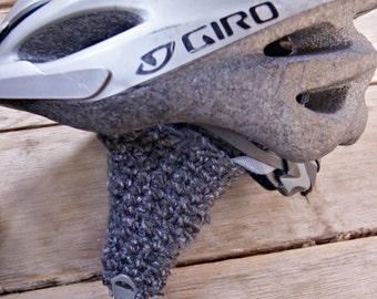 Helmet Ear Warmers - Grey Crochet Ear Warmers - Bike Helmet Earmuffs - Bicycle Ear Muffs - Gifts for Bikers