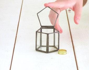 Micro Wedding Ring Box, Hinged & Lidded. A Classic Glass Box Terrarium, Ring Bearer Box,Wedding Ring Holder
