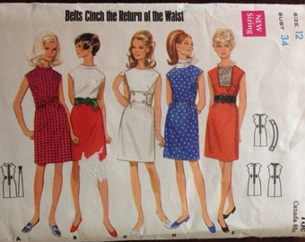 Butterick 5020 - 1960s Knee Length Dress with Stand Up Collar and Detachable Lace Jabot Options - Size 12 Bust 34