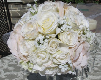 Romantic Silk Bride Bouquet-Pink ,White roses,white Hydrangeas,Baby's breath Bridal Decor