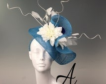 Kristin Custom Order Fascinator Turquoise Sinamay Handblocked Hat - Kentucky Derby Hat, Easter Hat, Royal Ascot Hat, Couture Millinery