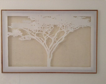 Large acacia tree paper cutting on canvas