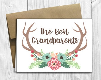 PRINTED The Best Grandparents Get Promoted to Great Grandparents - Pregnancy Announcement 5x7 Greeting Card - Floral Deer Antlers