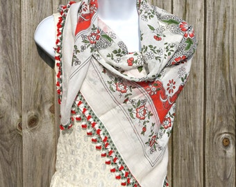 Turkish Yemeni Scarf Red Green- Turkish Oya Scarf -  Needle Crochet Yemeni - Handmade Shawl