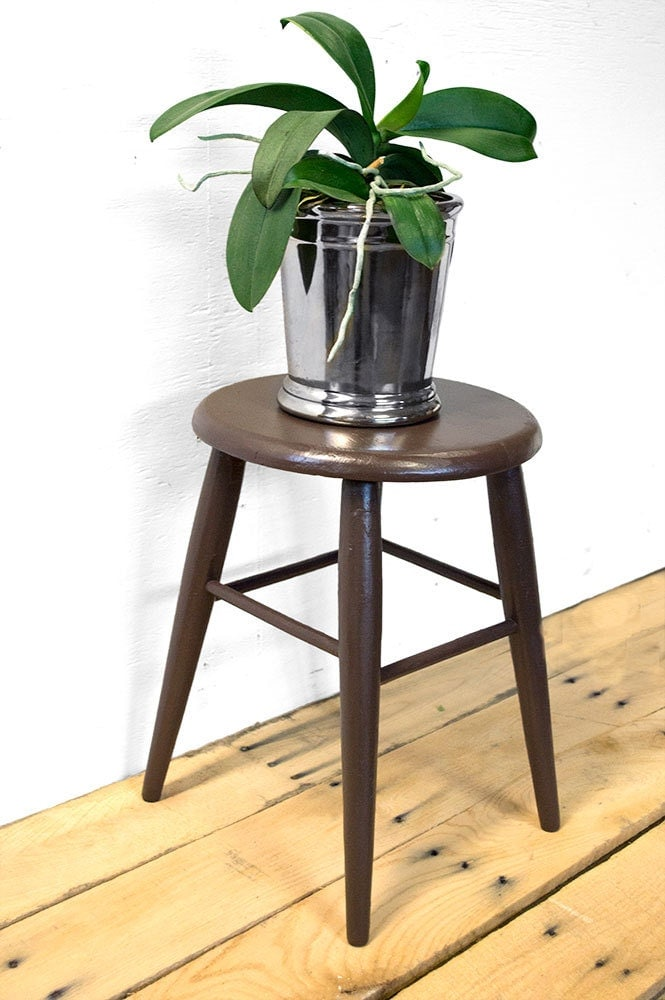 Small Wooden Stool Reclaimed Wood Plant Stand Indoor Plant