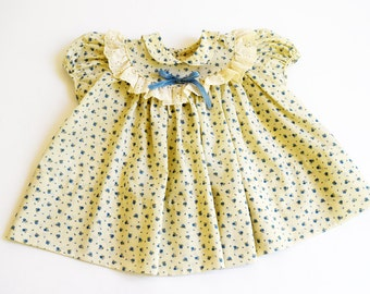 Cream Floral Dress, Baby Girl Dress, Vintage Baby Clothes, Size 9 Months, 1960s