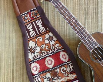 Ukulele Bag- Soprano Size... Hawaiian Barkcloth, Earthtones, Tiki Style, Leather Head Sock, Gig Bag, Concert size also available