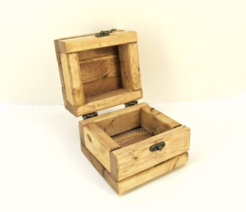 Cherry stained small wooden box with lid rustic little etsy - Small rustic wooden boxes ...