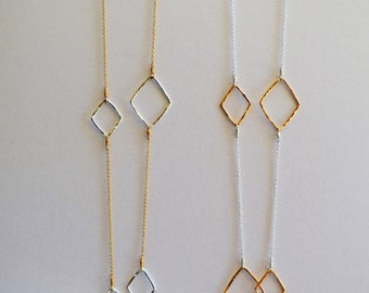 """Diamond Shape Hammered Two Tone Necklace- 32"""""""