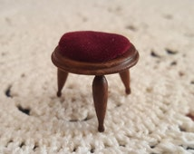 Miniature Dollhouse Handmade Foot Stool with Wine Red Velvet Cushion 1:12 Scale