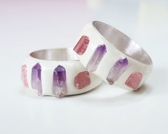 Princess Dust - Amethyst, tourmaline, clay & sterling silver ring