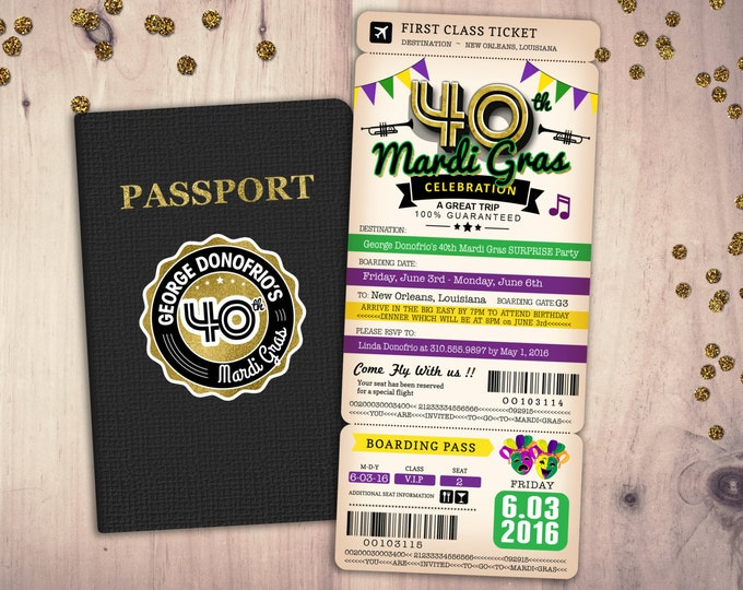 PASSPORT and TICKET birthday invitation, travel birthday party invitation, custom passport, Mardi Gras, New Orleans, Louisiana, Big Easy