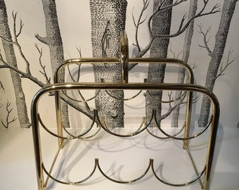 Vintage Gold Metal Wine Rack Minimalist