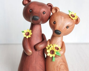 Personalized Bear Wedding Cake Topper -animal clay cake topper and keepsake for original woodland, rustic and chic wedding theme