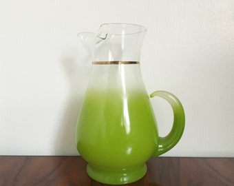 Vintage Large Green Blendo Jug made by West Virginia Glass.
