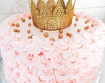 Mini Lace Gold Crown, Crown cake topper Princess crown