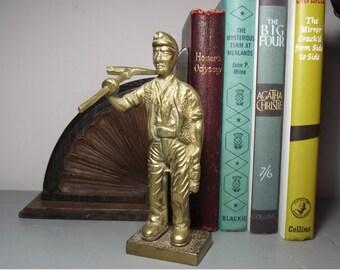 Solid Brass Miner Figurine/Brass Miner/Vintage Brass Figurine/Retro Brass Miner Figure/Brass Character Figurine/Brass Workman